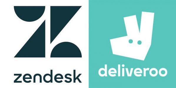 对于几何形标志设计的例子包括Zendesk和deliveroo。