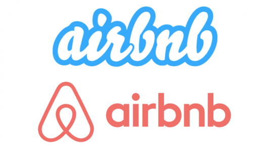 Airbnb的旧标识(上)和新的线条标志设计(下)。